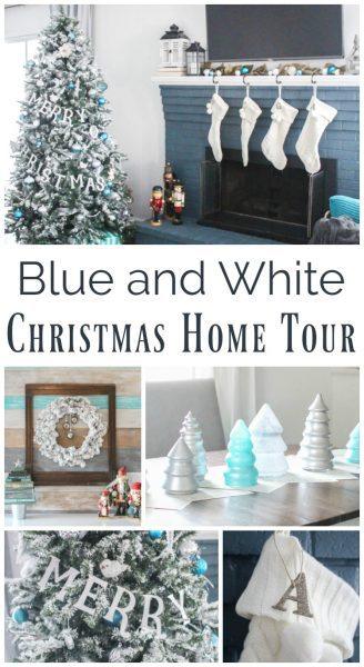 Blue and White Christmas decor, Christmas home tour full of glitter, snow, and lots of beautiful touches