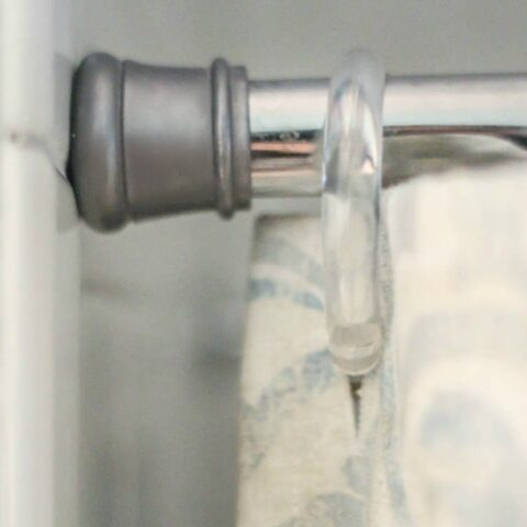 close up of shower curtain rod