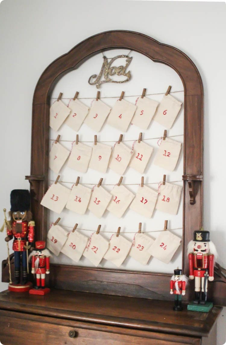upcycled advent calendar