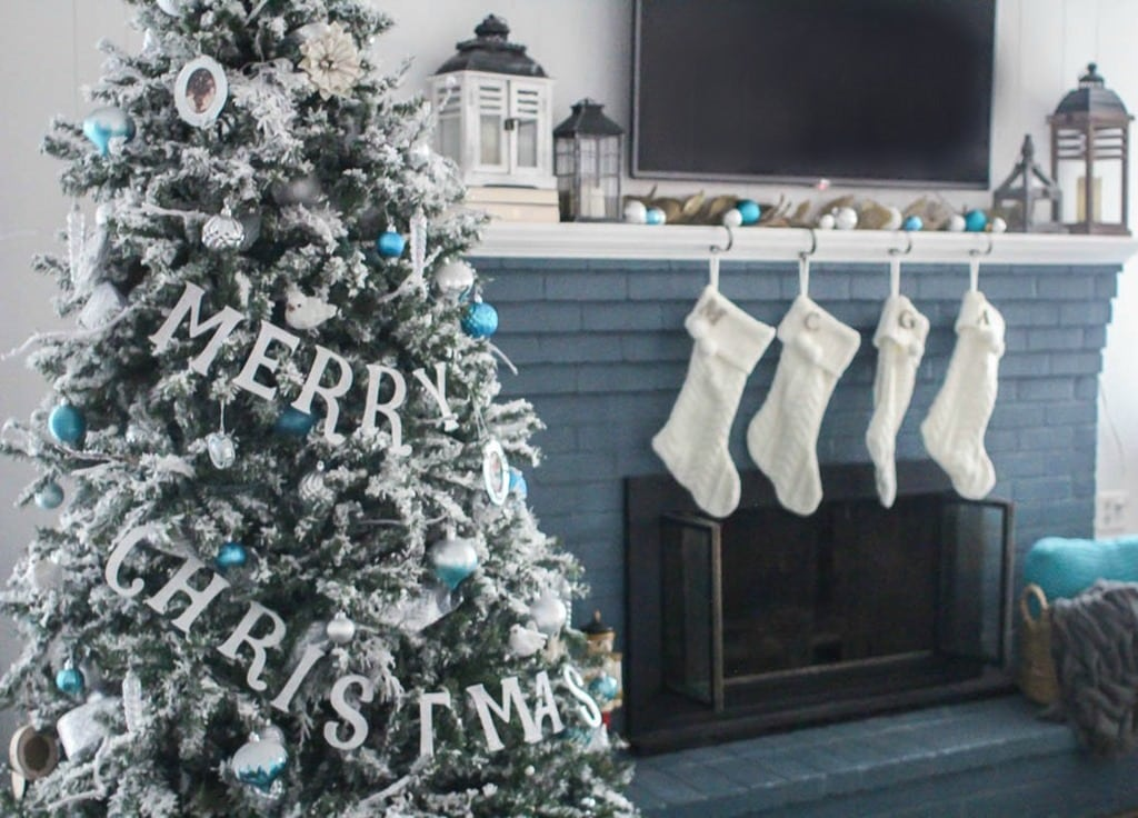 Blue and White Christmas Home Tour , Lovely Etc.