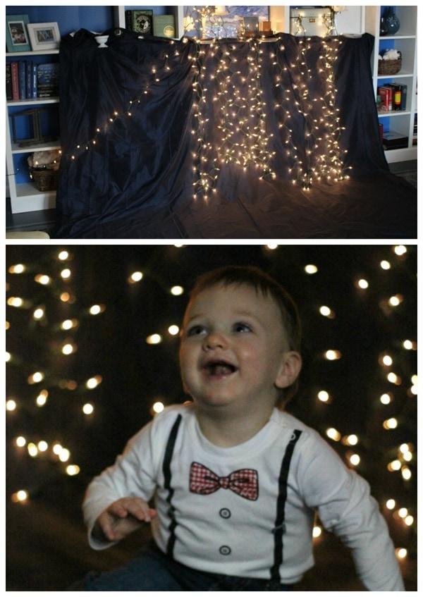 DIY Christmas lights photo backdrop.