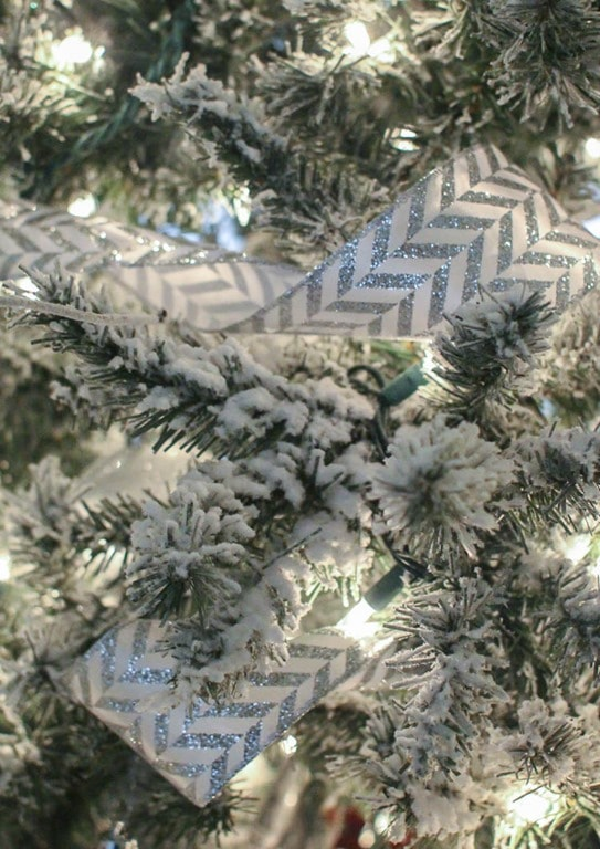 ribbon in flocked Christmas tree