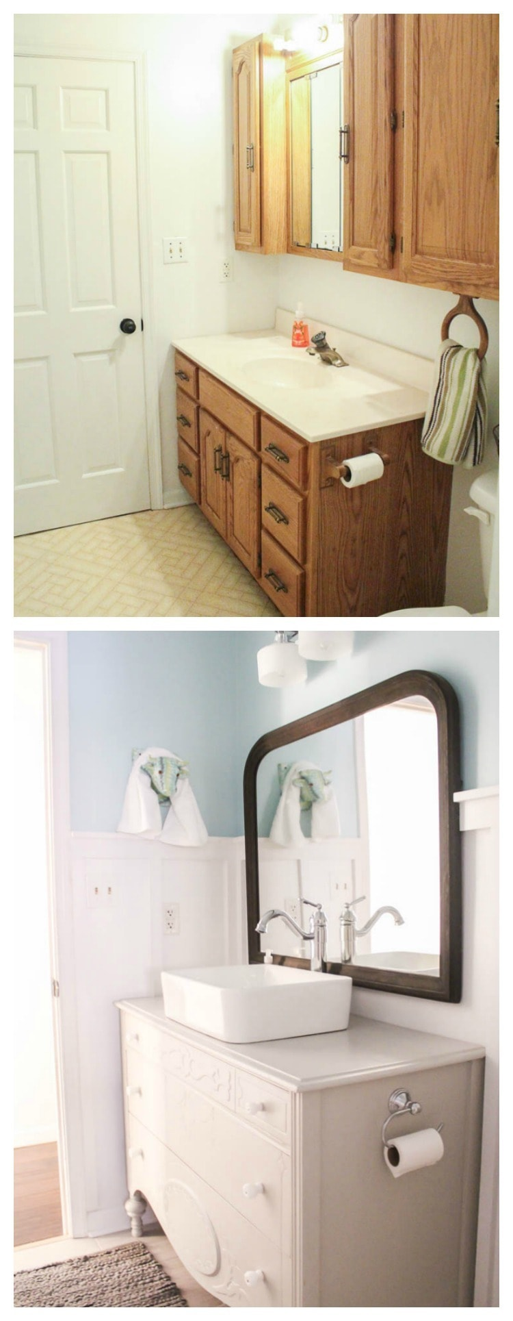 DIY bathroom vanity before and after