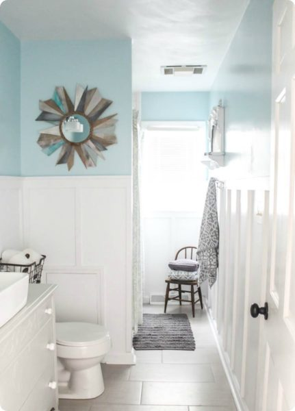 modern farmhouse bathroom, bathroom with board and batten, blue and white bathroom, diy bathroom renovation