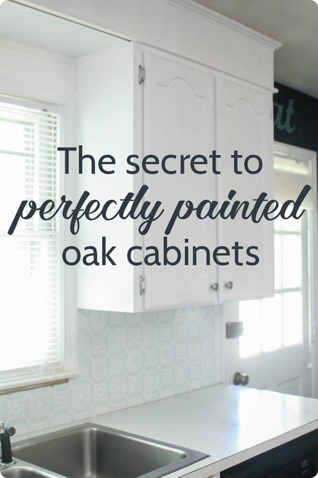 the secret to perfectly painted oak cabinets