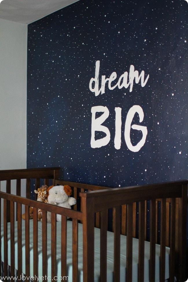 dream big mural in nursery