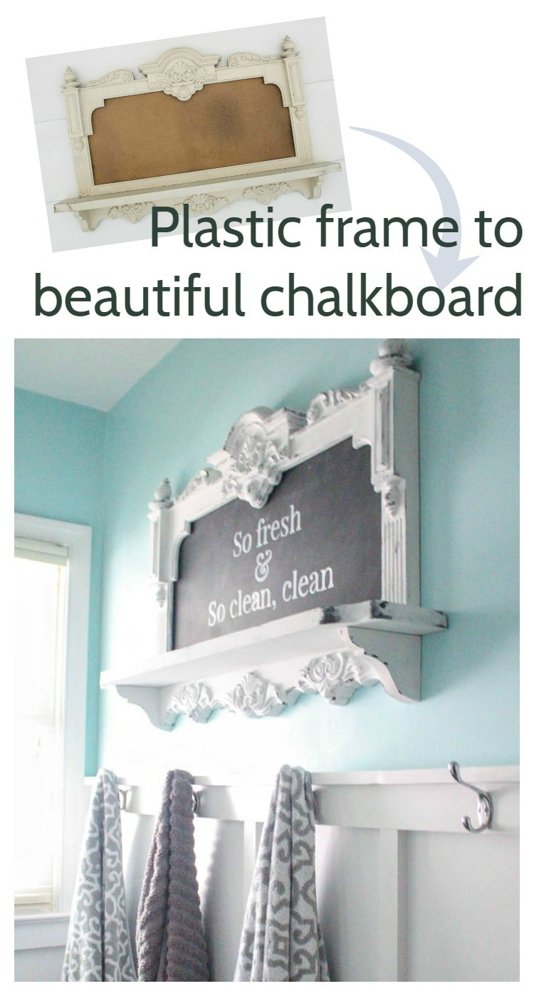plastic frame to beautiful chalkboard
