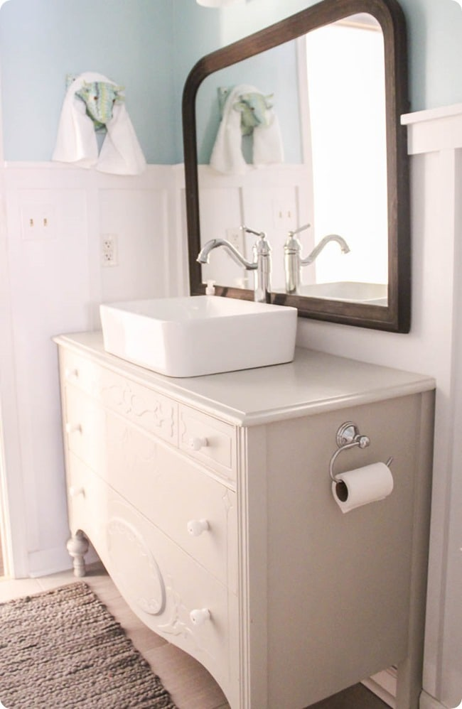 vintage dresser with vessel sink