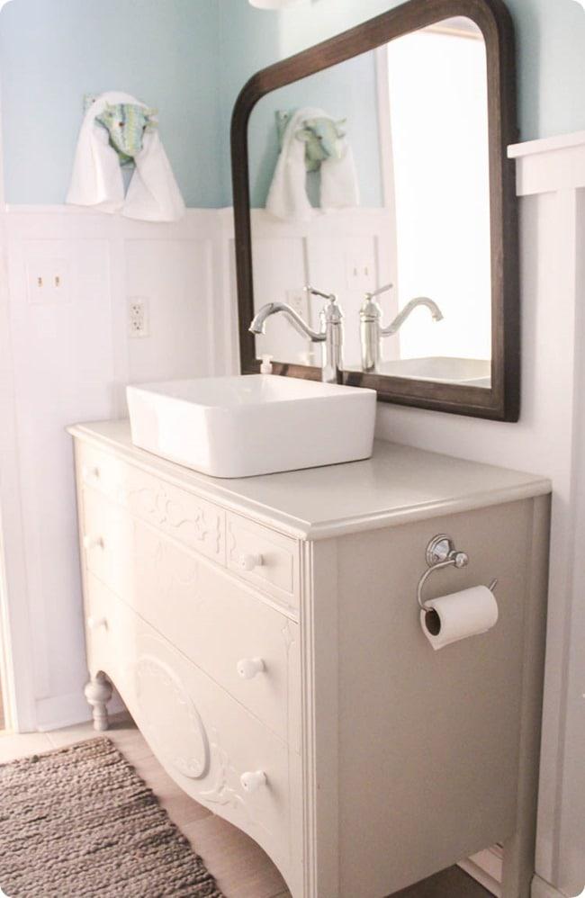 vintage dresser with vessel sink
