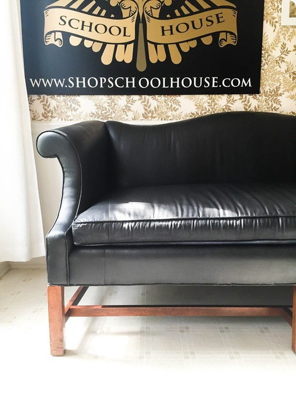 painting an old sofa to look like leather