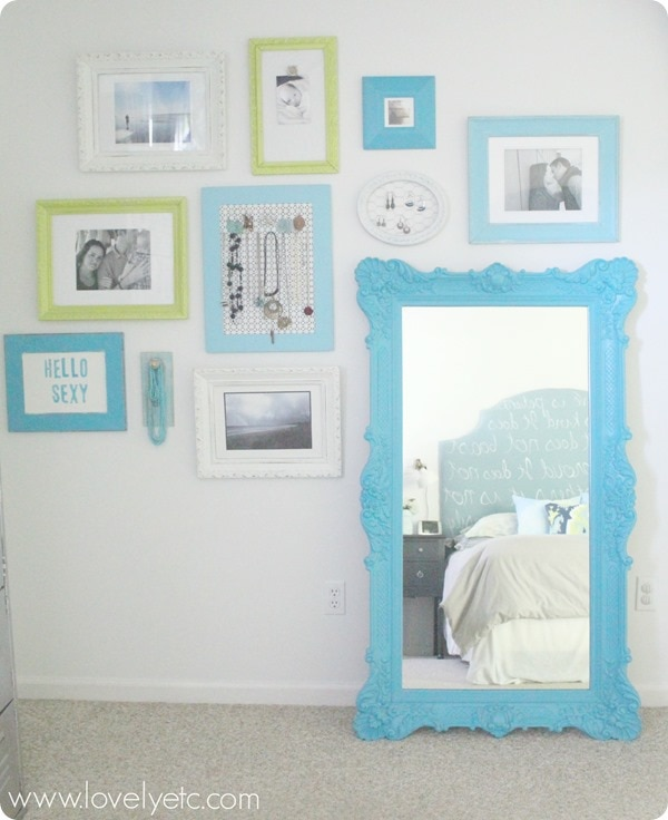 blue and green gallery wall