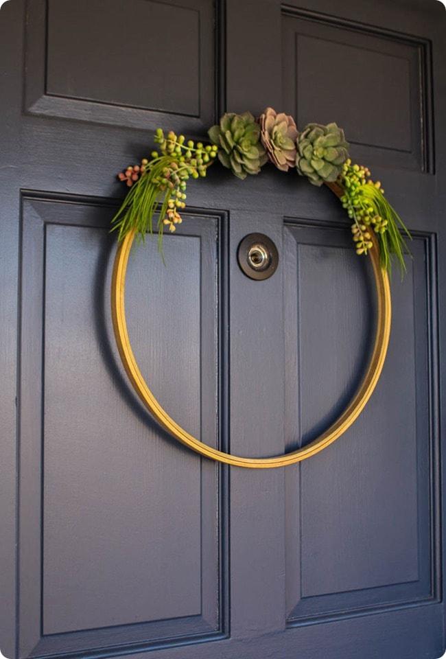 embroidery hoop succulent wreath