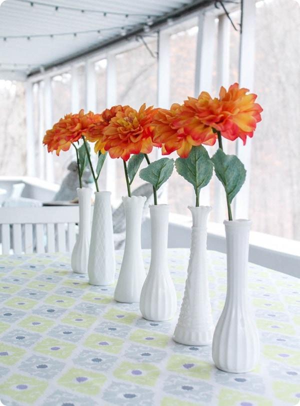 milk glass bud vase centerpiece
