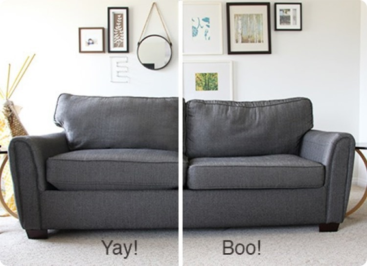 sofa cushions before and after restuffing