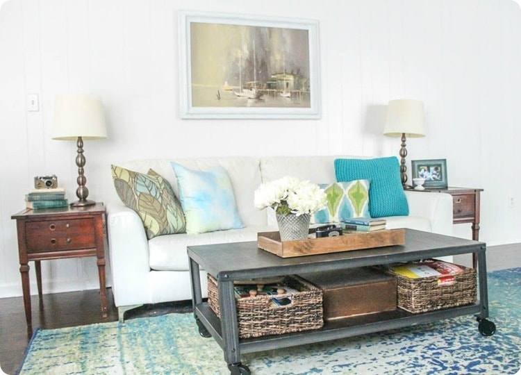 white couch and metal coffee table