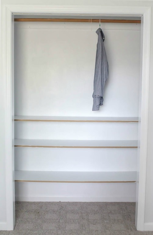 How to build cheap and easy DIY closet shelves - Lovely Etc.