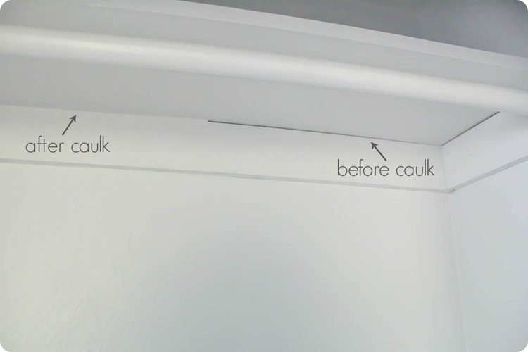 The importance of caulk when adding trim to diy shelves.