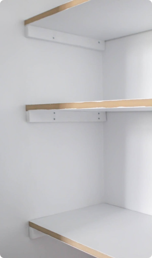 Step by step instructions for building DIY closet shelves