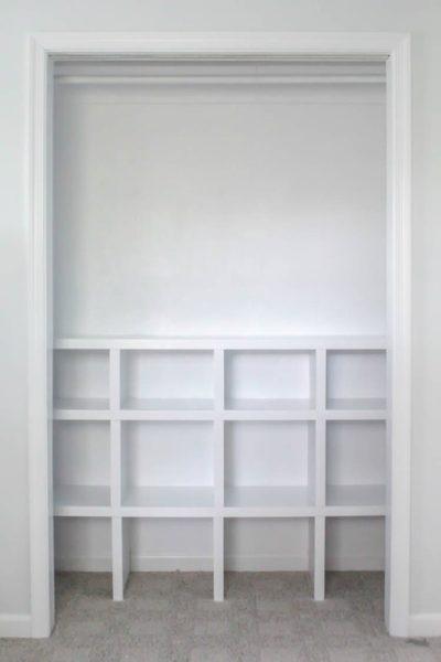 closet with diy closet cubbies