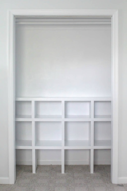 Finished DIY closet shelves.