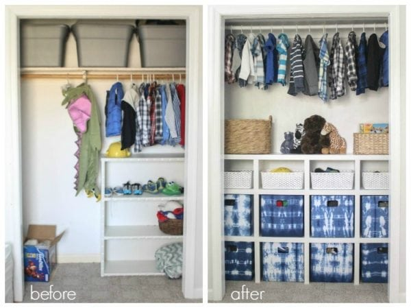 kids closet before and after adding diy shelves.