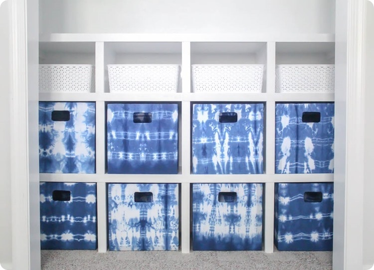 shibori fabric storage bins
