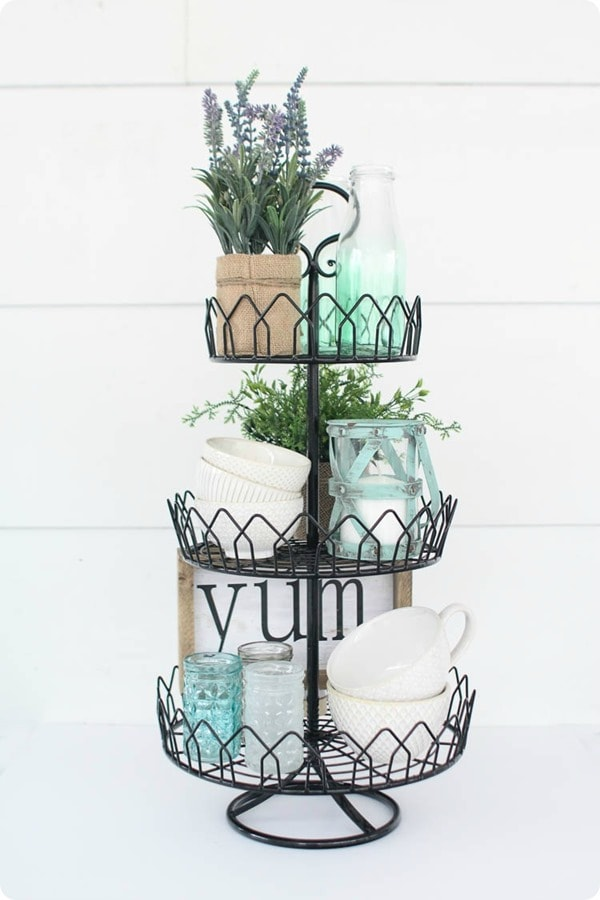 tiered tray with farmhouse style