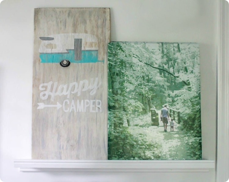 happy camper sign and diy photo canvas
