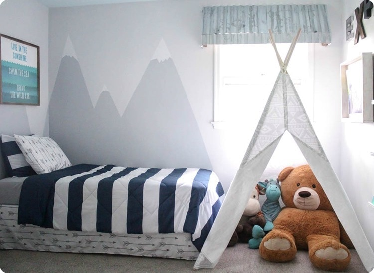 little boys room with teepee and mountain mural