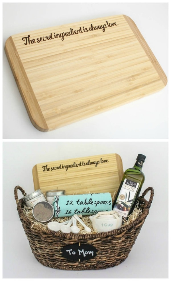 gift basket with DIY custom cutting board, Mother's Day gift, wedding gift, hostess gift
