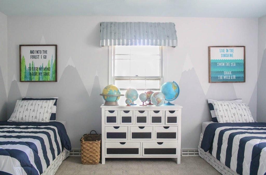 vintage modern shared boys bedroom