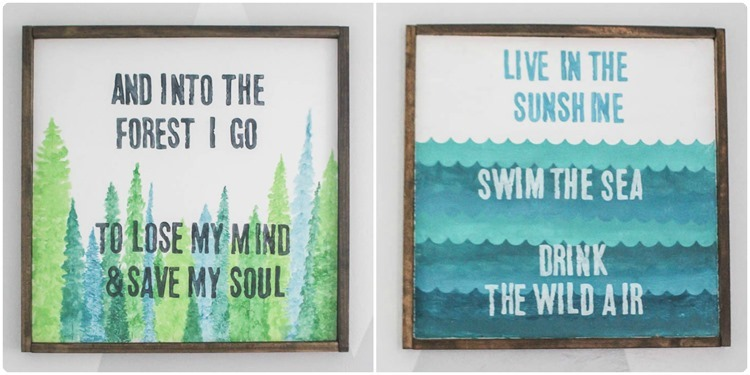 two signs with adventure quotes