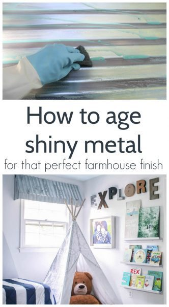 how to age shiny metal roofing