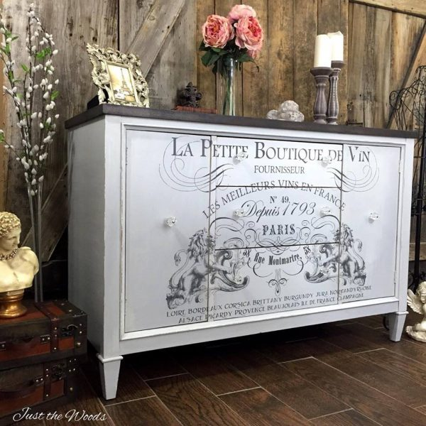 image transfer on painted buffet