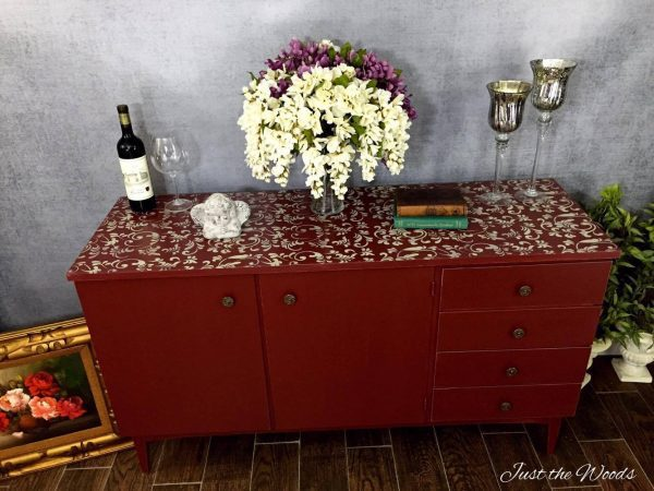 credenza with stenciled top