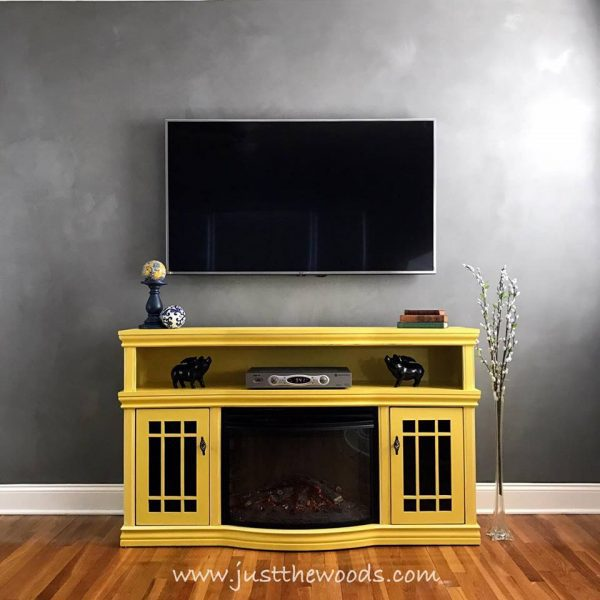 yellow painted media console