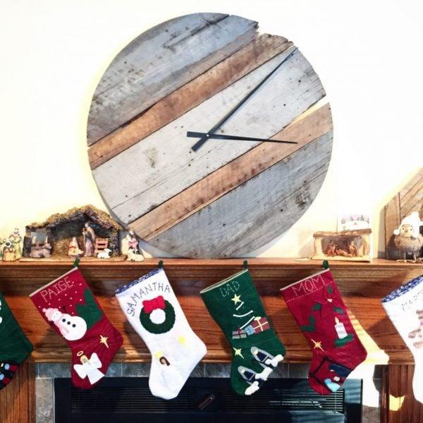 reclaimed barn wood clock
