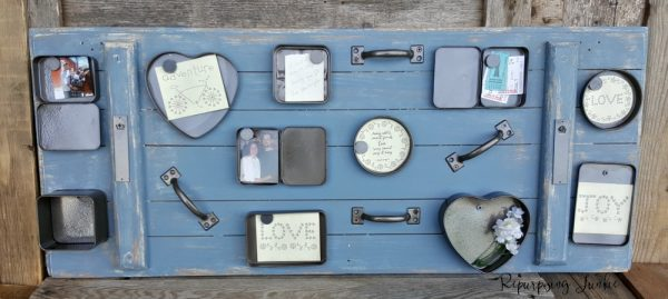 repurposed mini tin gallery wall