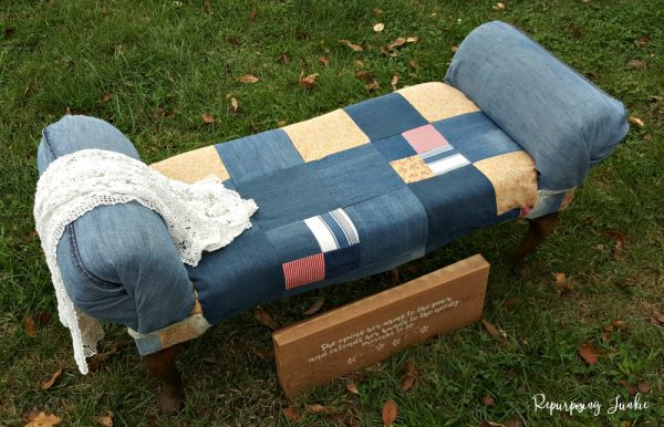reupholstered fabric scrap bench