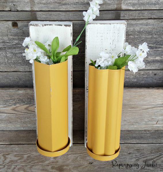 repurposed bread tin vases
