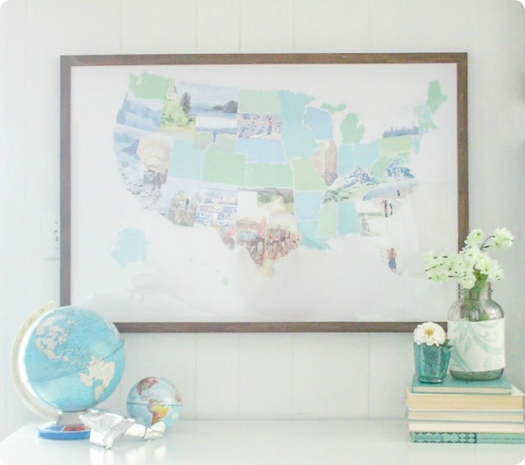 Beautiful watercolor photo map. Make a personalized photo map from your own vacation photos.
