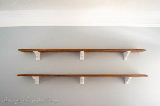 diy farmhouse shelves with wood brackets