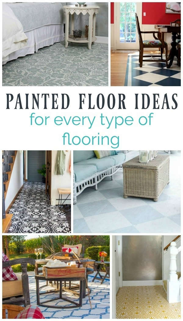 Beautiful painted floor ideas for every type of flooring: plywood, hardwoods, concrete, vinyl, tile, etc. Inspiration plus tutorials