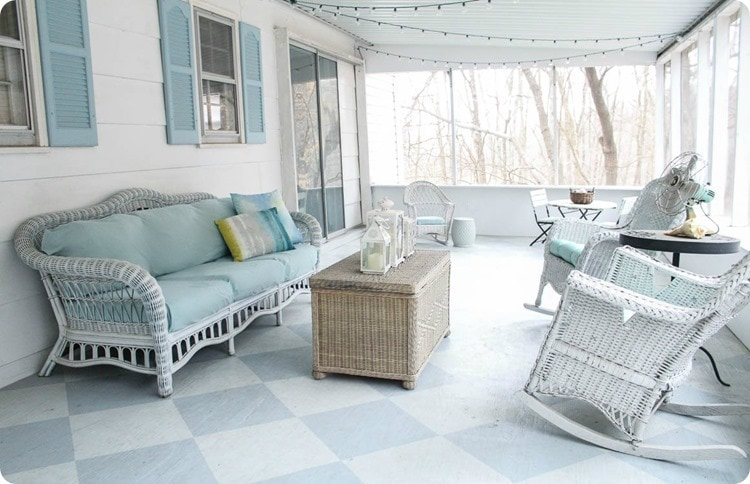 screened porch with painted floor