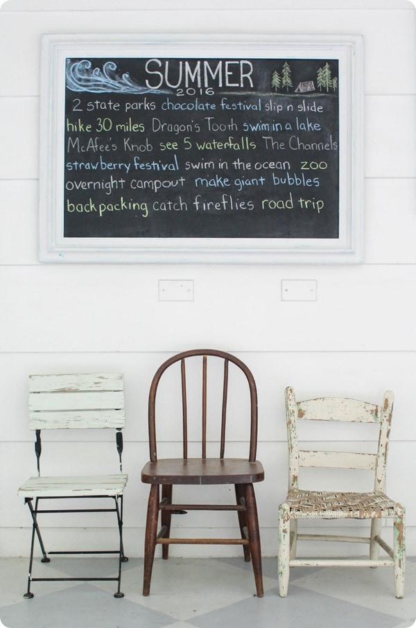summer bucket list chalkboard
