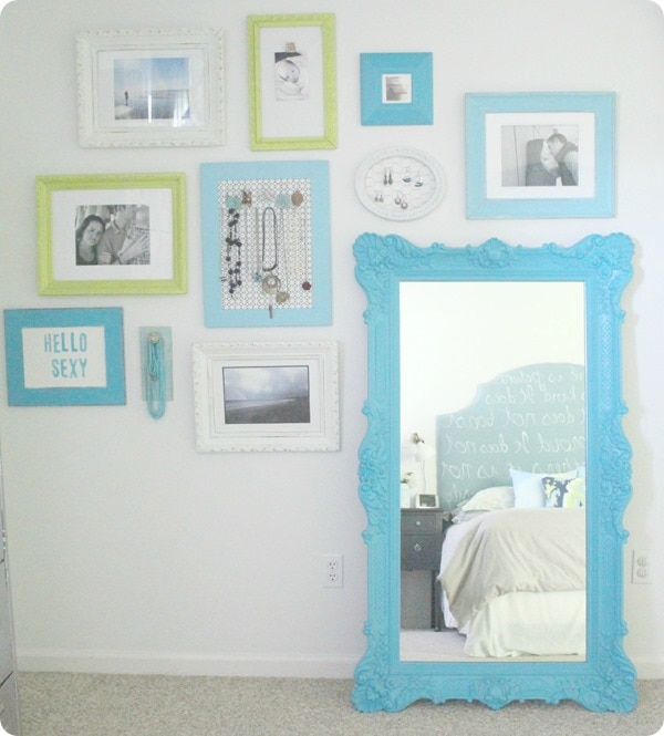 vintage mirror in bedroom