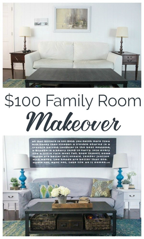 100 dollar family room makeover