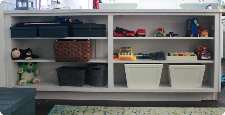 before of shelves with toys