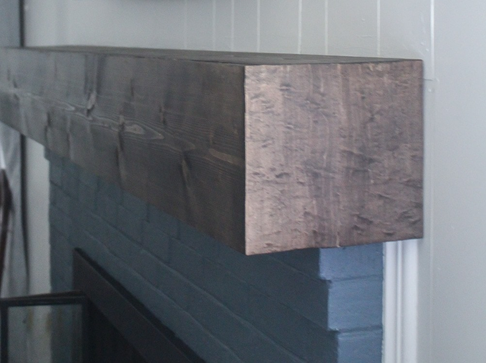 Diy rustic fireplace mantel the cure for a boring - How to make a brick fireplace look modern ...