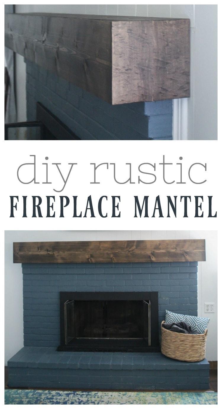 diy rustic fireplace mantel.